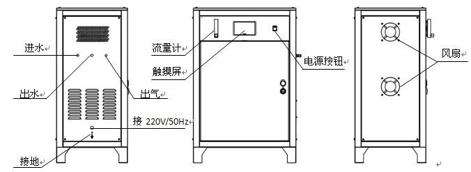 结构图 空压机将空气压入设备后,经过干燥机和前后端除油除水,得到